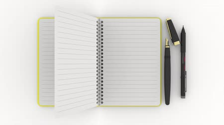 Animation 3D illustration. Notepad opens and closes. Blank sheets with the possibility to insert text.