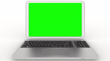 Animation - Chroma key. Gray laptop. Opening and closing. With room for Chroma key at the monitor. Stock Footage