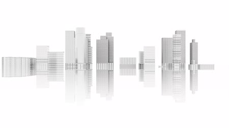 Animation 3D illustration. City skyline development on white background with reflection. Stock Footage