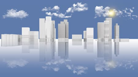 расширение : 3D illustration animation. White city skyline development with reflection. Sky, sun and clouds background.