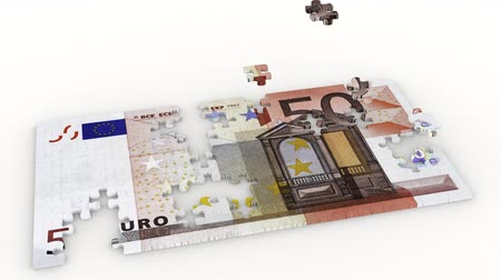 euro banknotes : 3D illustration animation. Creation puzzle and bribe fifty euro on white background.