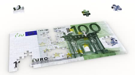 euro banknotes : 3D illustration animation. Creation puzzle and wad of a hundred euro on a white background.