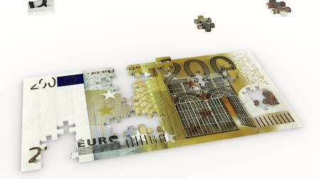 3D illustration animation. Creation puzzle and bribe two hundred euros on a white background.