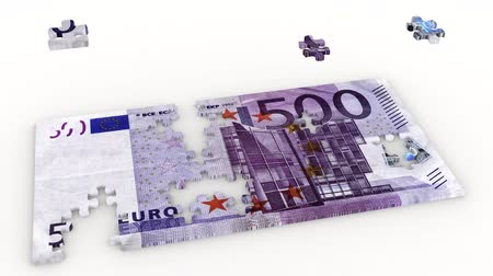 3D illustration animation. Creating five hundred euro puzzle and bribe on a white background. Stock Footage