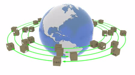 balík : 3D illustration animation. Shipping around the world. Parcels rotate around the globe to be delivered.