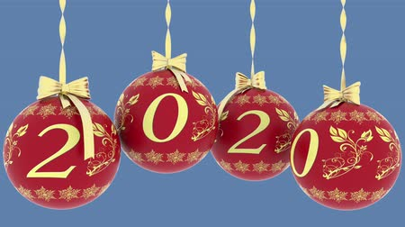 auguri : 3D illustration animation. Christmas decoration. New Year 2020. Filmati Stock