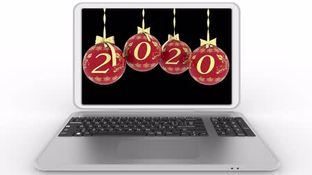 christmas ball gold : 3D illustration animation. Christmas decoration on computer screen announces the transition to the new year.