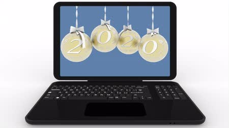3D illustration animation. Christmas decoration on computer screen announces the transition to the new year.