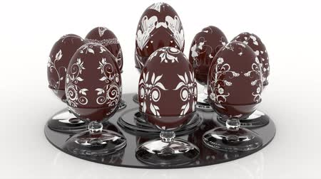 3D illustration animation. Series of Easter eggs decorated with various decorations.
