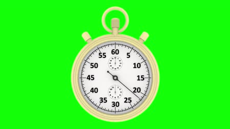 cronômetro : 3D illustration animation. Stopwatch. Chronograph, at the start, measures one minute. Stock Footage