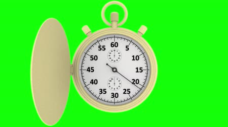 minutos : 3D illustration animation. Stopwatch. Chronograph, at the start, measures one minute. Stock Footage