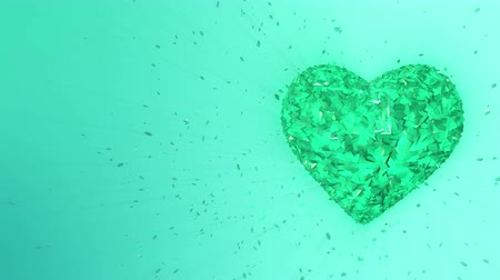treasure : 3d animation: Abstract looped animated background: Rotating luminous emerald heart shaped pieces and cubes of green spinning with stray pieces. Color background. Seamless loop.