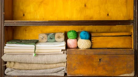 raflar : Filling shelves by materials and tools for handmade, embroidery and knitting