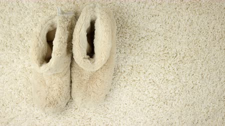tread : Slippers are moving along the carpet. Comfort zone Stock Footage