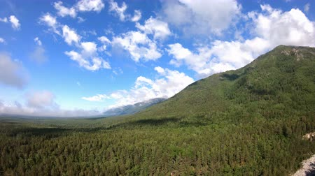 rezerv : Panorama of beautiful mountains with green forest, blue sky and white clouds Stok Video