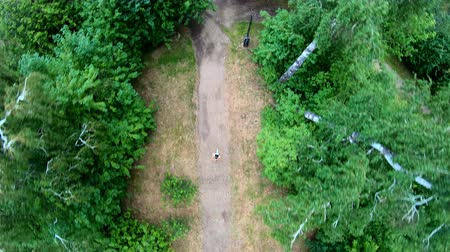 run down : Aerial view of jogging in the park. Girl running along the forest path. Vertical, top-down, slow motion