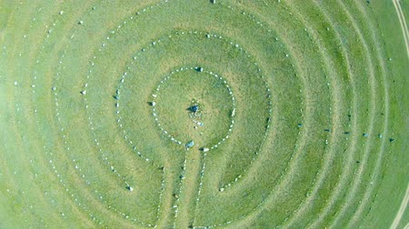 labirent : Aerial view of stone labyrinth. The drone, rise up above the stone circles Stok Video