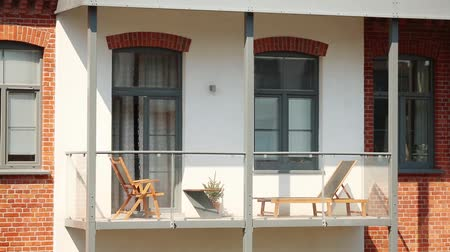 blocks of flats : Balcony of loft building in the city. Made in old factory. Outdoor