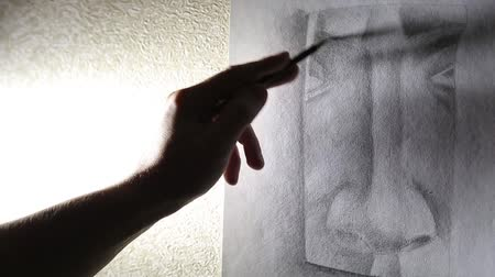 grafit : Man artist draws a nose with a graphite pencil HD Stok Video