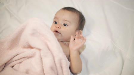 плюшевый мишка : Newborn beautiful baby in towel after bathing