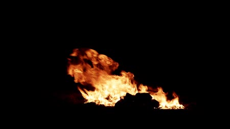 arson : Lit a large fire at night on a black background HD