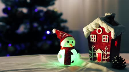 bumps : Christmas arrangement of snowman and red house