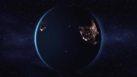 planety : Rotation of planet earth view from space on a black background 1920 Wideo