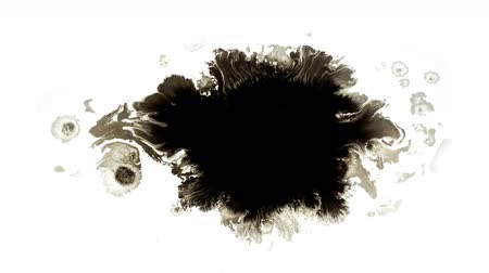bleeding : A drop of black watercolor spread over the surface of the white liquid 4k