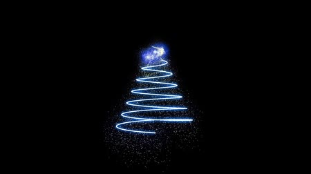 ion : Computer graphics appearing colored Christmas tree in motion on black background HD 1920x1080 Stock Footage