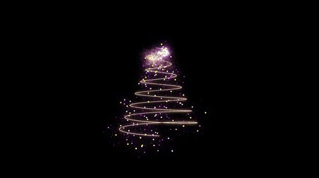 ion : Animation of appearing colorful Christmas tree in motion on black background HD 1920x1080