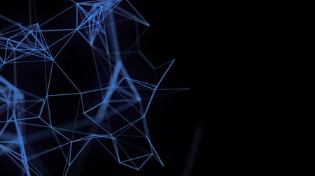 The movement of intertwined lines of blue on a black background HD