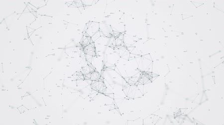 Graphics movement of microparticles linked together in space on white background HD 1920x1080