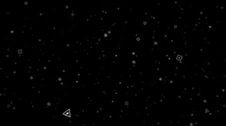 Graphics in motion composite microparticles rounded white on a black background HD Stock Footage