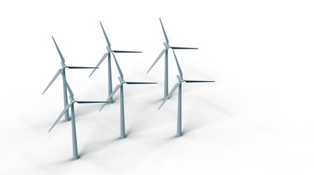 Rotation of wind turbines to generate electricity on white background HD 1920x1080 Stock Footage