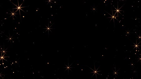 Animation of flickering defocused balls and stars on a black background HD Stock Footage