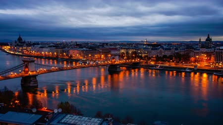 st stephen : Time-lapse of Budapest and Danube River at sunset, Czech Republic Stock Footage
