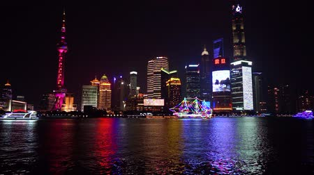 huangpu river : Shanghai city skyline, view of the skyscrapers of Pudong and huangpu River. Shanghai, China. Stock Footage