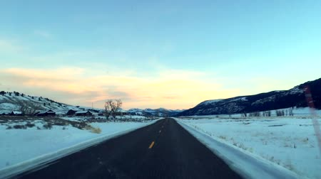 Typical American road on the way to Yellowstone National Park, Montana, USA. Stock Footage