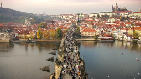 Čechy : Timelapse of People Walking on the Karluv Most, Prague, Czech Republic.