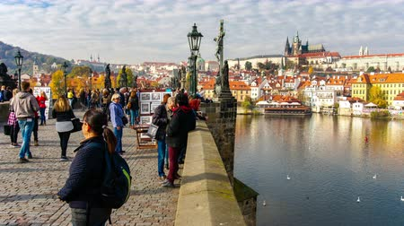 Timelapse of people walking on the Charles Bridge, Prague, Czech Republic.