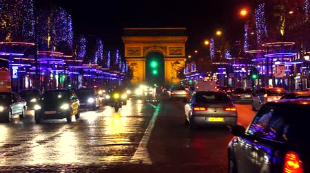 Traffic jam in front of the Arc de Triomphe, Paris, France.