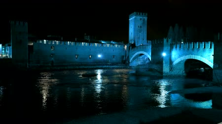 Night View of Castelvecchio with reflection on Adige river, Verona, Italy. Stock Footage