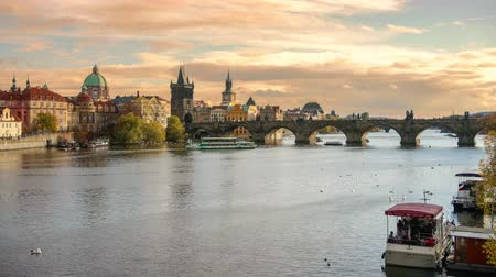 Timelapse Panoramic view of Prague old town, Vltava river and Charles Bridge 動画素材
