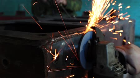boru : processing of metal grinder with sparks 14 Stok Video