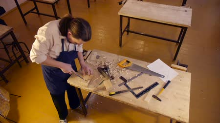 rasp : Carpenter labor master work with wood Stock Footage