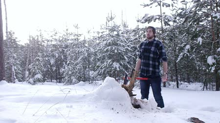 beardie : Tired lumberjack standing in winter forest, steam coming out of his mouth