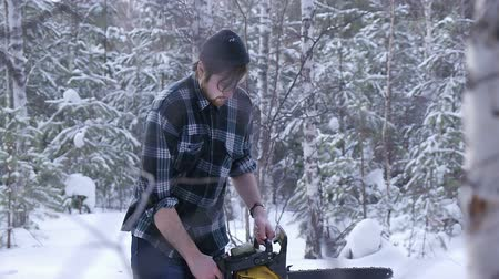 beardie : Lumberjack chainsaw manual sawing wood in the winter snowy forest