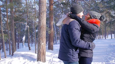 carinho : Young and beautiful couple in love walking in the winter woods