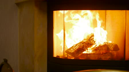 fogão : Burning fireplace in home Stock Footage