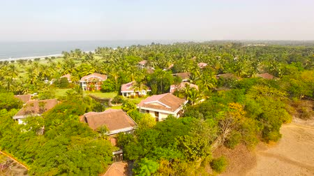 goa beach : Beach with roof house from Aerial Drone